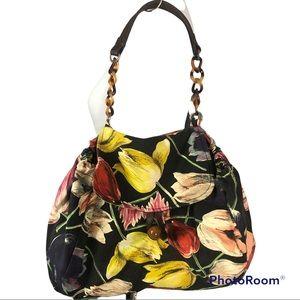 Miss Albright floral canvas top handle hobo bag